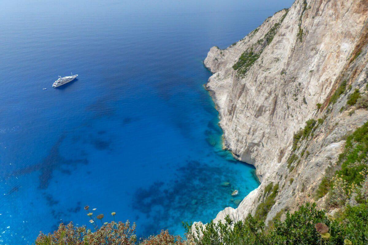 Caminho para a Shipwreck, Zakynthos, Grécia