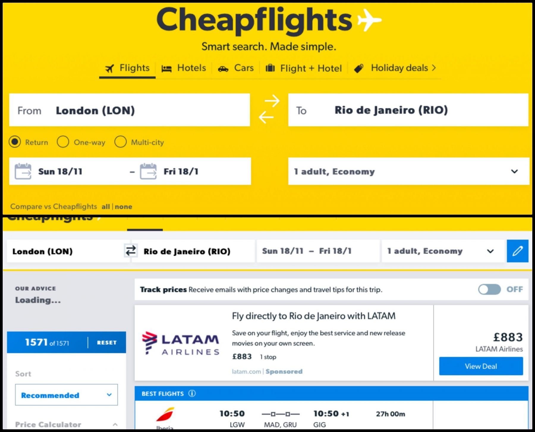 Cheapflights search engine