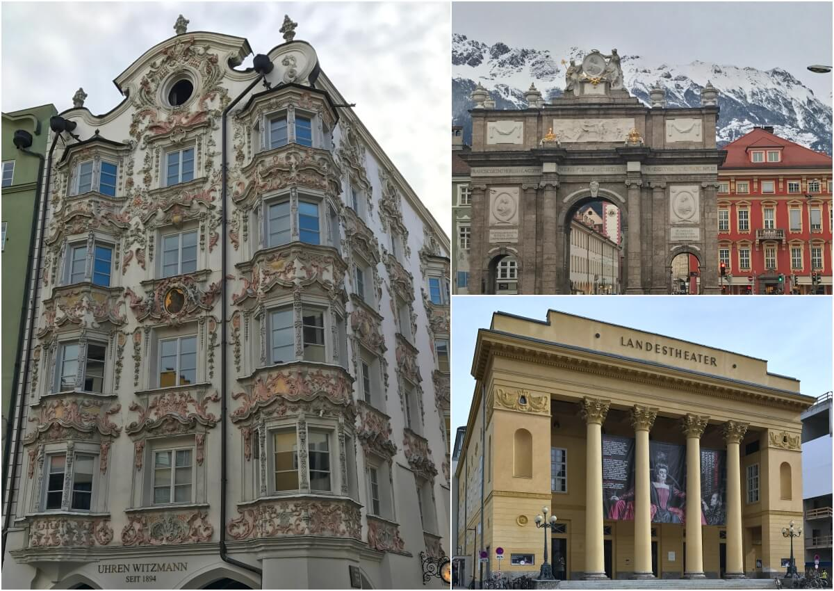 Helblinghaus, Triumphpforte and Tiroler Landestheater, Innsbruck