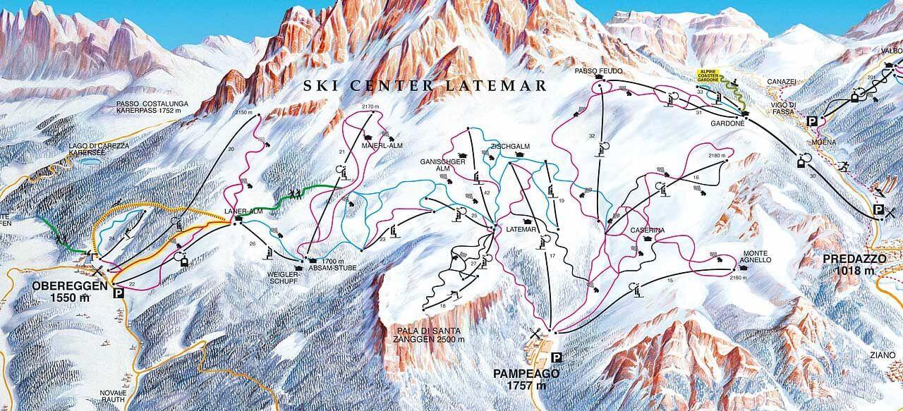 Latemar Piste Map